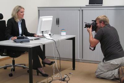 Beim Shooting für die IT von VW im MobileLifeCampus