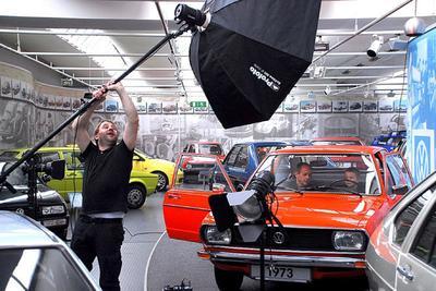 Beim Shooting im Wolfsburger Automuseum