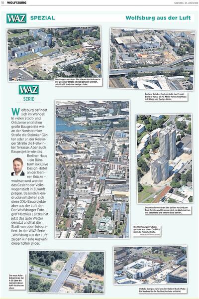 Luftbildseite in der WAZ vom 27. Juni 2020