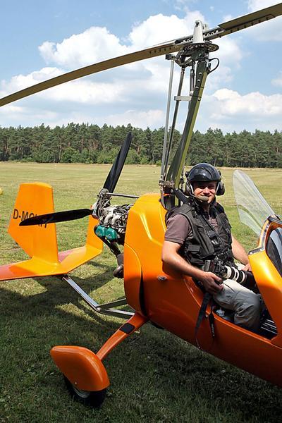 Kurz vor dem Start im Gyrocopter in Ummern
