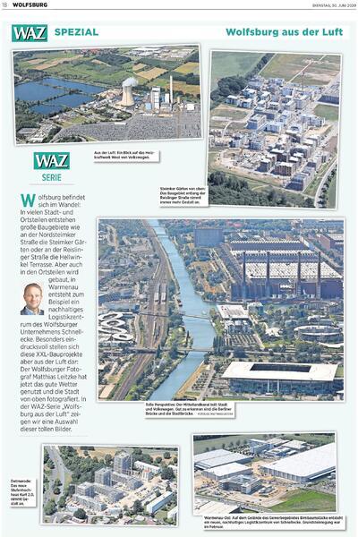 Luftbildseite in der WAZ vom 30. Juni 2020